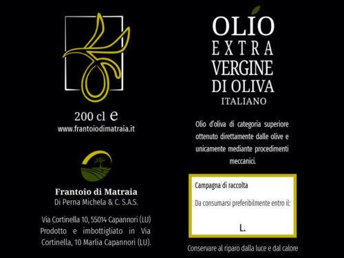 Etichette per bottiglie di Olio